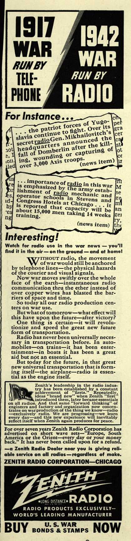 Zenith Radio Corporation's Radio – 1917 War Run By Telephone, 1942 War Run By Radio (1943)
