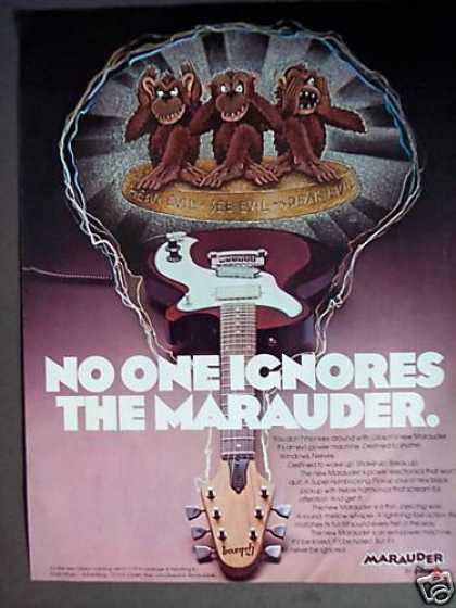Hear See Speak Evil Gibson Marauder Guitar Art (1975)