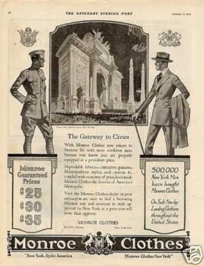 Monroe Clothes Ad Victory Arch, Ny (1919)