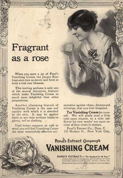 Pond's Extract Co.'s Pond's Vanishing Cream – Fragrant as a Rose (1912)