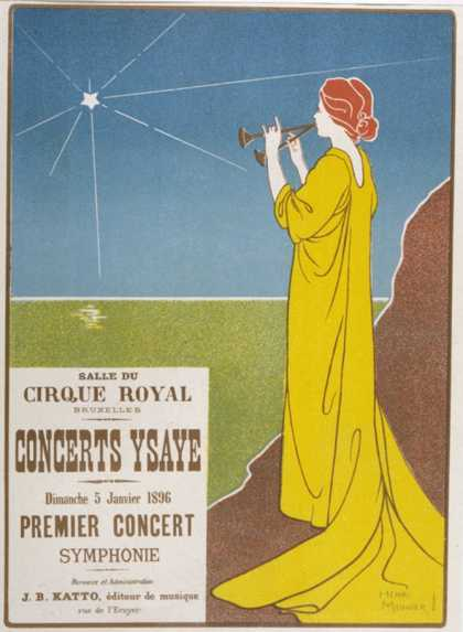 Poster for a Classical Music Concert Starring the Belgian Violinist and Composer Eugene Ysaye
