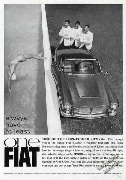 Fiat Spider Photo Girl Diving In Pool Car (1963)