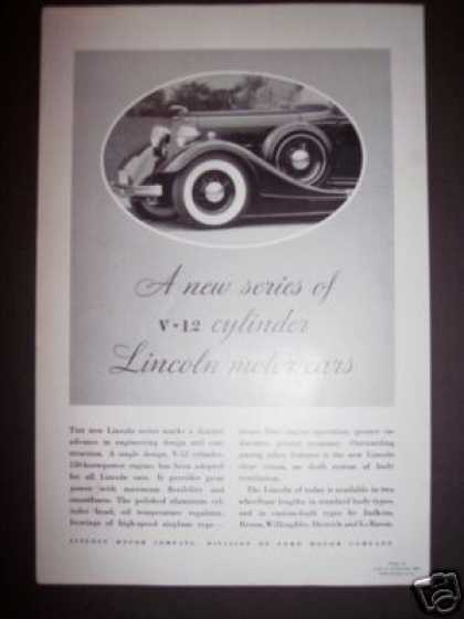 Lincoln Motor Car V-12 Original (1934)