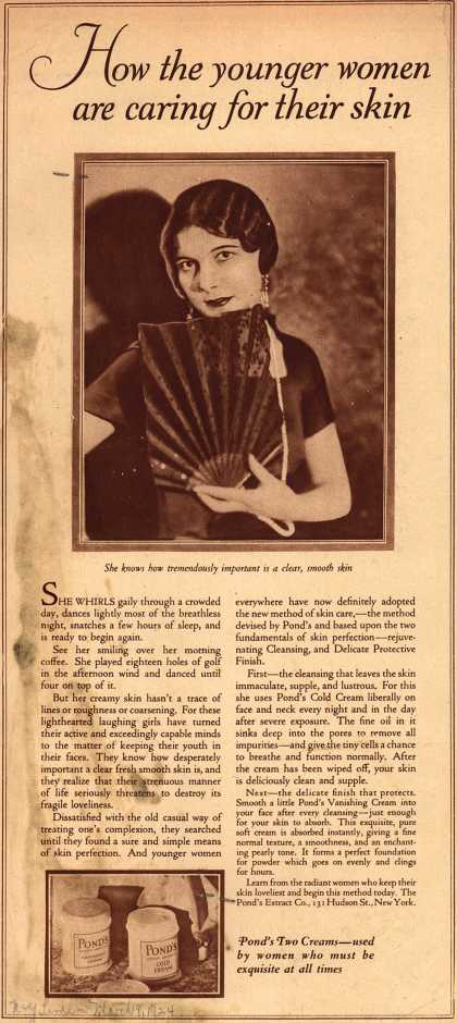 Pond's Extract Co.'s Pond's Cold Cream and Vanishing Cream – How the younger women are caring for their skin. (1924)