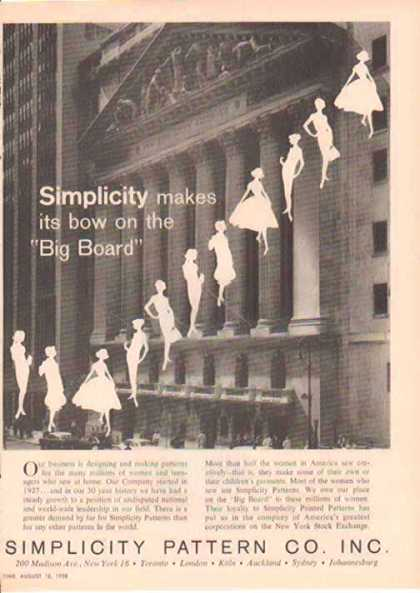 Simplicity Patterns Fashion – New York Stock Exchange (1958)
