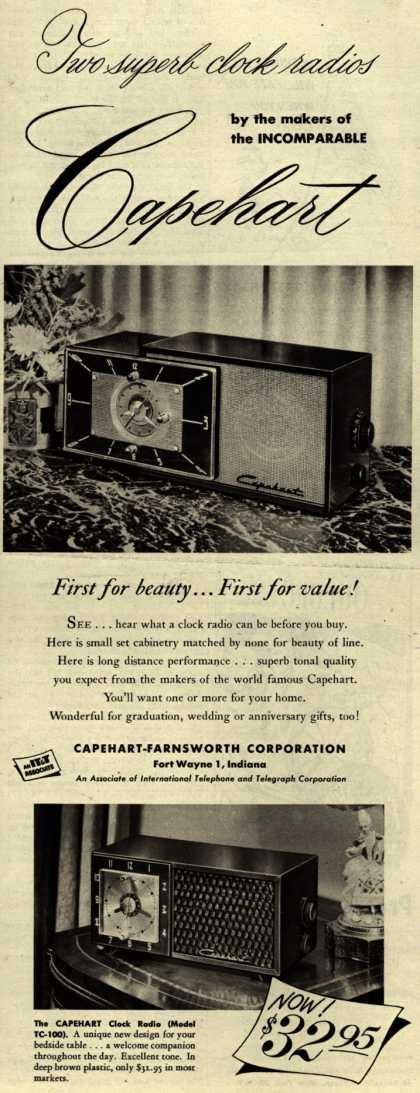 Capehart-Farnsworth Corporation's clock radios – Two Superb Clock Radios by the makers of the INCOMPARABLE Capehart (1952)