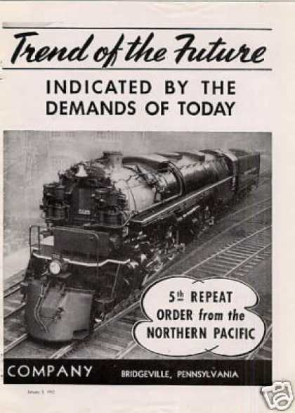 Flannery Bolt Ad Northern Pacific Ry 4-6-6-4 #5125 (1942)