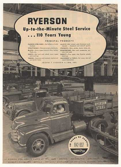 Ryerson Steel Trucks Service Plant Photo (1952)