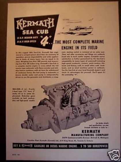 Kermath Sea Cub Marine Engine Boat Motor (1951)