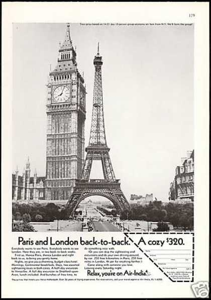 Air India Airlines Eiffel Tower Big Ben (1968)