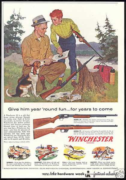 Winchester Model 61, 77, 22, Rifle Beagle Dog (1958)