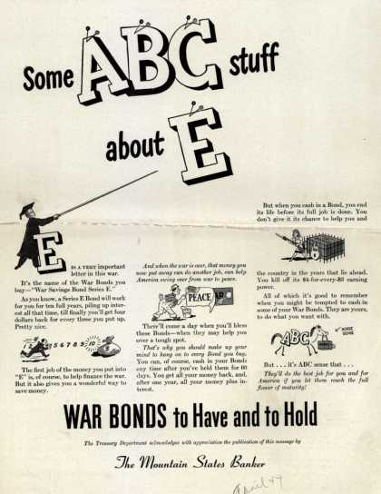 U. S. Treasury Dept.'s War Bonds – Some ABC Stuff About E (1944)
