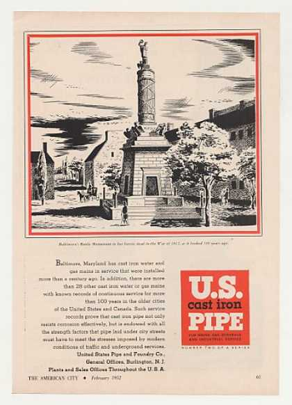 Baltimore Battle Monument art US Cast Iron Pipe (1952)