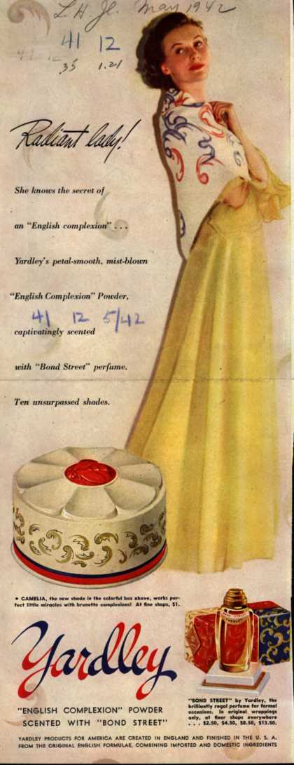 Yardley of London's Bond Street Perfume and Beauty Preparations – Radiant lady (1942)