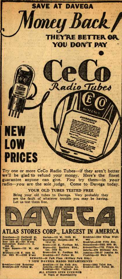 CeCo Manufacturing Company's Radio Tubes – Save at Davega Money Back! They're better or you don't pay (1930)