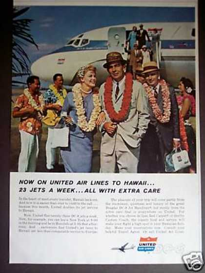 United Air Lines Airline Dc-8 To Hawaii Photo (1960)