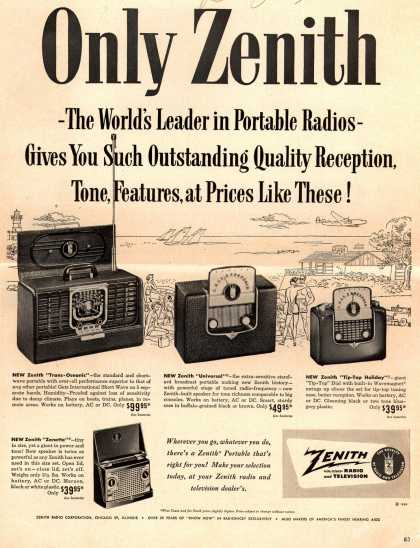 Zenith Radio Corporation's Portable radios – Only Zenith – The World's Leader in Portable Radios – Gives You Such Outstanding Quality Reception, Tone, Features, at Prices Like These (1950)