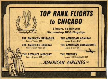 American Airline's Nonstop DC-6 Flagship flights to Chicago – Top Rank Flights to Chicago (1949)