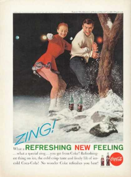 Coke Ice Skate Ad Orient Cruise Ship (1961)