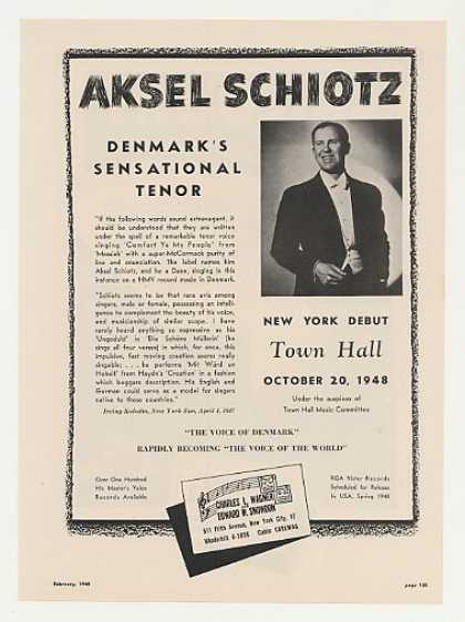 Tenor Aksel Schiotz New York Debut Photo (1948)