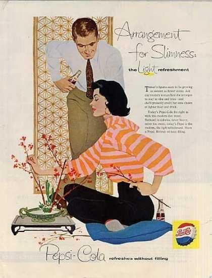 "Pepsi-cola Ad ""Arrangement for Slimness... (1958)"