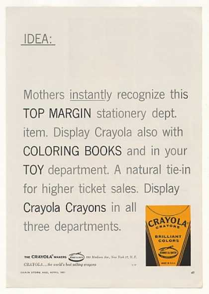 Crayola Crayons Display in 3 Departments Trade (1961)