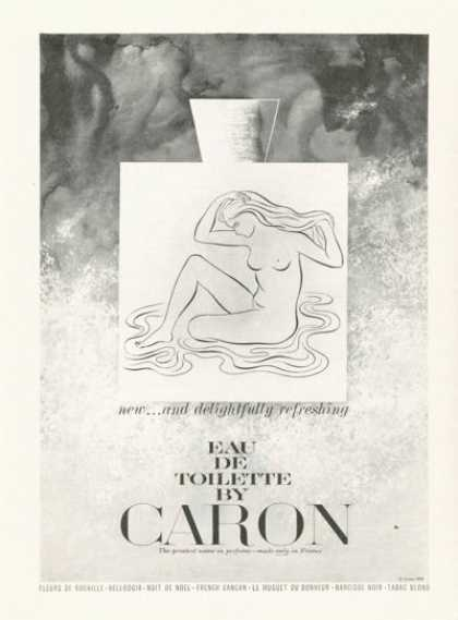 Caron Eau De Toilette Perfume Nude Girl Drawing (1961)