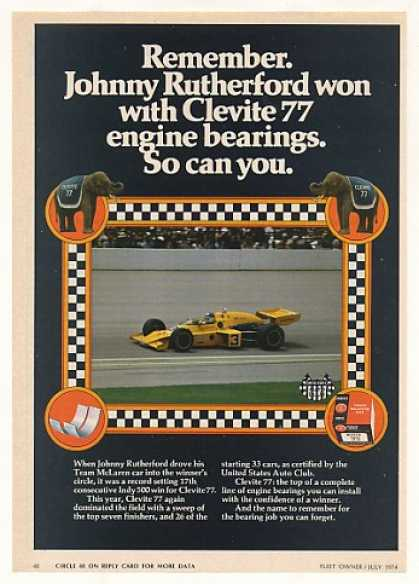 Johnny Rutherford Indy 500 Clevite 77 Bearings (1974)