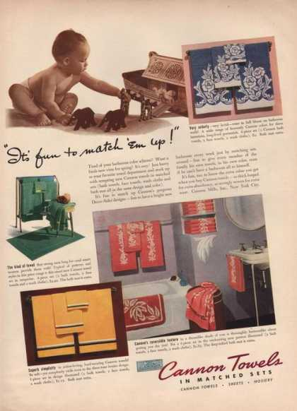 Cannon Towels In Matched Sets (1941)