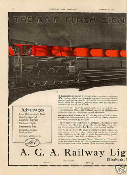 A.g.a. Railway Light & Signal Ad Centerfold (1917)