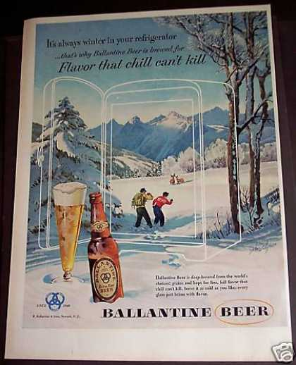 Ballantine Beer Winter Scene (1953)