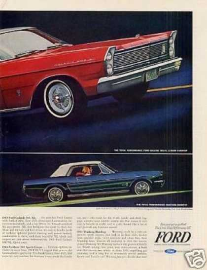 Ford Galaxie & Mustang Cars Ad 2 Page (1965)