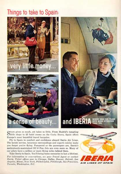 Iberia Airlines Spain Dc-8 1rst Class Cabin (1964)