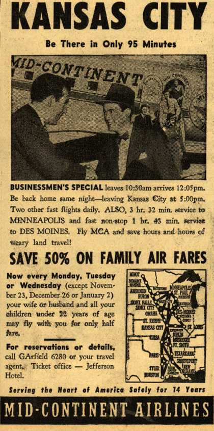 Mid-Continent Airline's Kansas City – Fly Mid-Continent to Kansas City (1949)