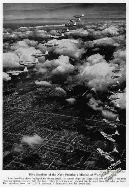 Navy Dive Bombers Over San Diego Magazine Photo (1940)