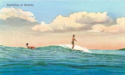 Surf Riding, Waikiki, Hawaii