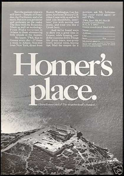 Greece Ruins Homer's Place TWA Airlines (1968)
