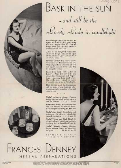 Denney & Denney's Herbal Preparations – Bask In The Sun- and still be the Lovely Lady in candlelight (1932)