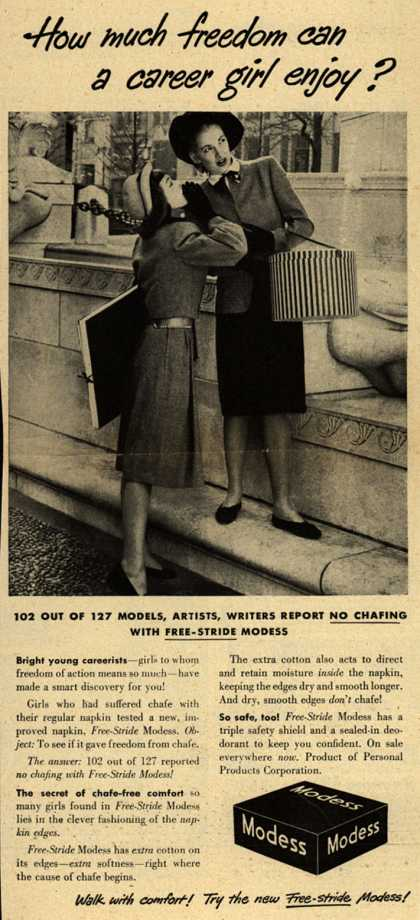 Modes's Sanitary Napkins – How much freedom can a career girl enjoy? (1947)