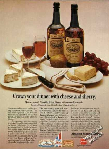 Almaden Solera Sherries With Borden Cheese (1973)