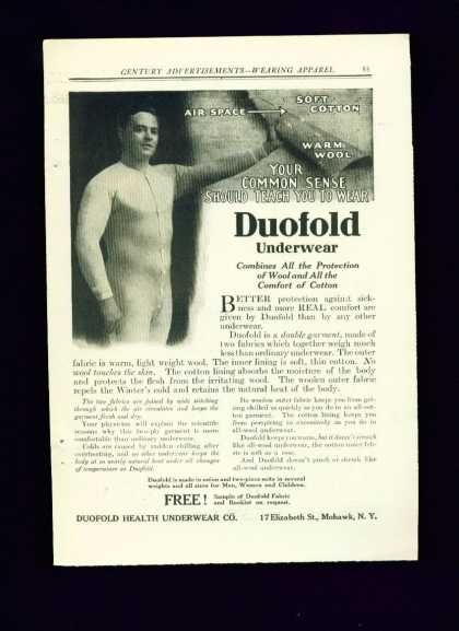 Duofold Underwear C Ad Handsome Man Gay Interest (1910)