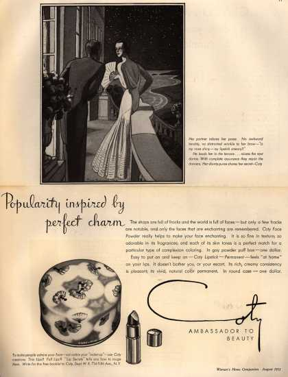 Coty's Face Powder and Lipstick – Popularity inspired by perfect charm (1931)