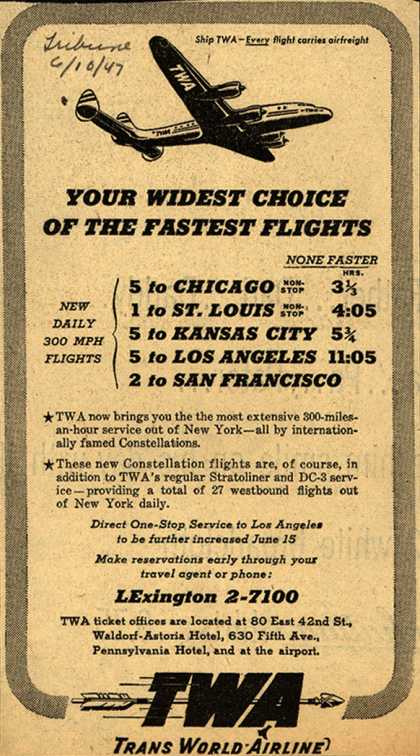 Trans World Airline – Your Widest Choice Of The Fastest Flights (1947)