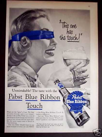 Woman In Blindfold Pabst Blue Ribbon Beer (1956)