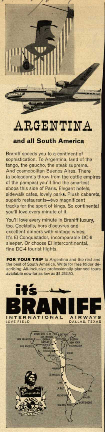Braniff International Airway's South America – Argentina and South America (1953)