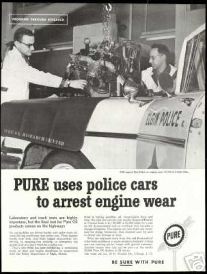Elgin Police Cop Car Photo Pure Oil Vintage (1960)