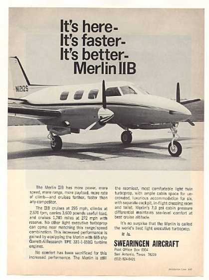 Swearingen Aircraft Merlin IIB Airplane Photo (1968)