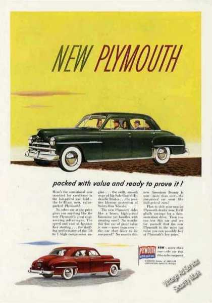 "Plymouth 4-door ""Packed With Value"" Car (1950)"