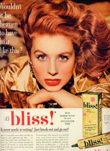 Bliss Home Permanent Ad Sexy Siren Red Hair (1957)