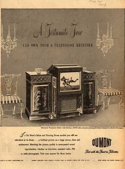 Allen B. DuMont Laboratorie's various – A Fortunate Few Can Own Such A Television Receiver (1947)